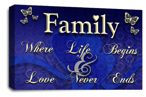 Family Quote Wall Art Picture Cream Blue Grey Love Print